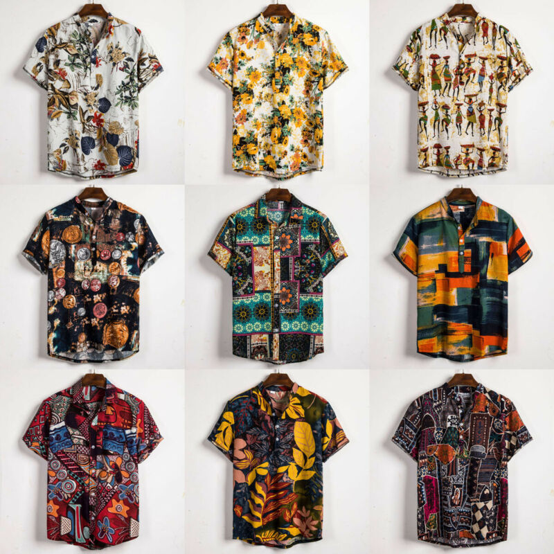 Linen Short Sleeve Shirt Men Summer Floral Loose Baggy Casual Hawaii Holiday Beach Shirt Tee Tops Buttons Blouse National Style