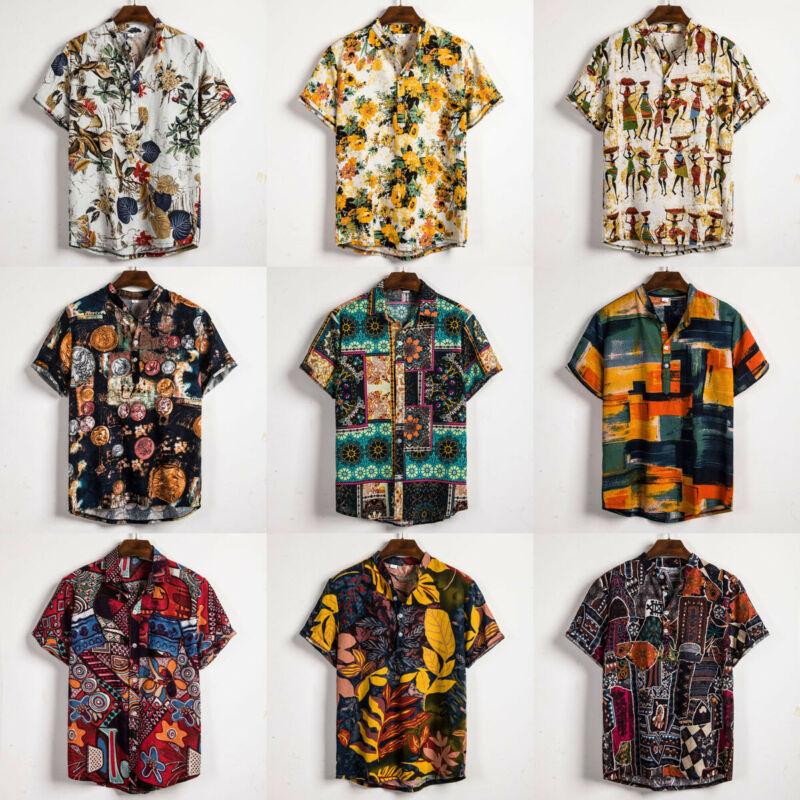 Linen Short Sleeve Shirt Men Summer Floral Loose Baggy Casual Hawaii Holiday Beach Shirt Tee Tops Buttons Blouse National Style