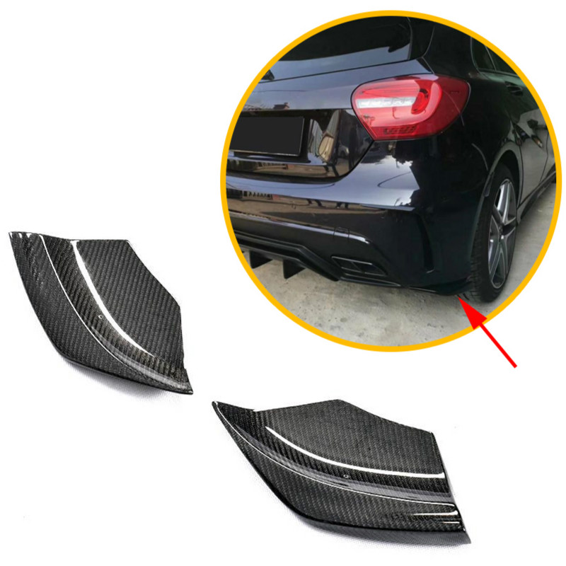 Rear Bumper Diffuser Splitters Canards for <font><b>Mercedes</b></font>-<font><b>Benz</b></font> A Class <font><b>W176</b></font> A180 <font><b>A200</b></font> A250 A45 AMG 2013 - 2018 Carbon Fiber / FRP m178 image