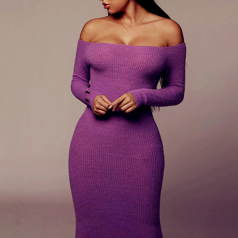 Off Shoulder Ribbed Knitted Long Sleeve Bodycon Midi Dress 12