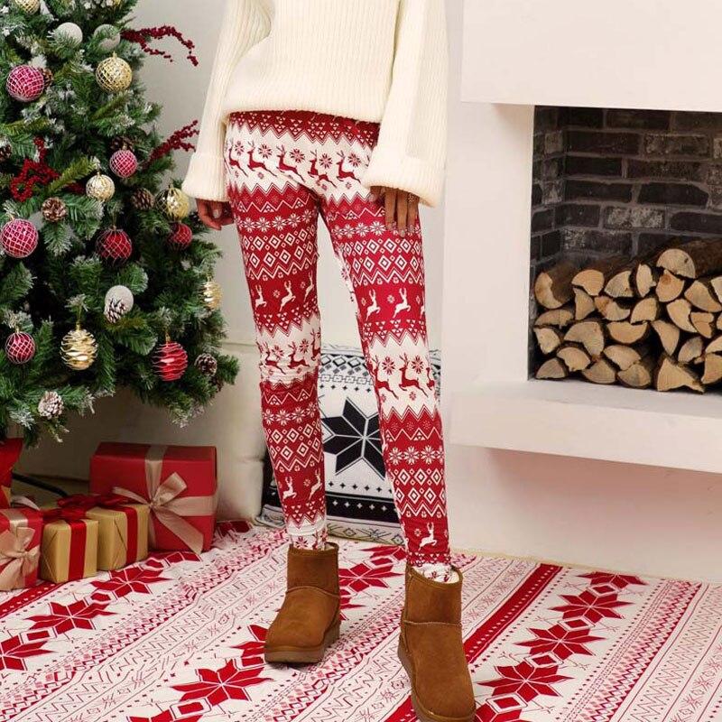 2019 Christmas Leggings Women Party Xmas Leggings For Women Slim Legging Female Pants Women Winter New Year Print Legging Ladies