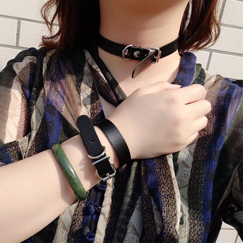 Hot Punk Harajuku Collar Choker Necklace PU Leather Choker Punk Goth 100% Handmade Neck Bracelet Jewelry wristband