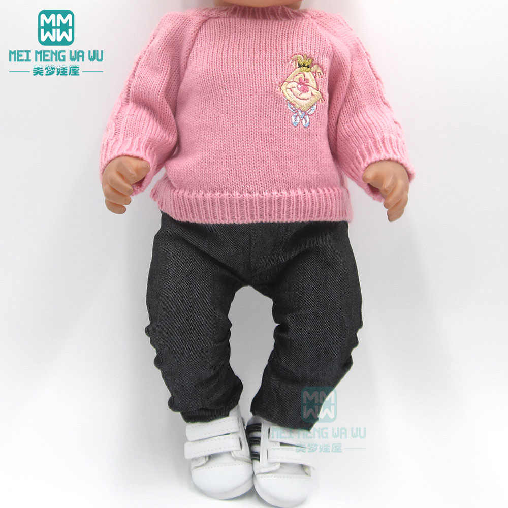 Clothes for doll fit 43cm baby toy new born doll and American doll Pink sweater + jeans princess dress