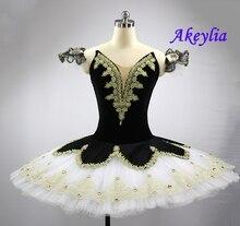 Black White Nutcracker Pancake Tutu Costume Women Adult Girls Harlequinade Professional Ballet Stage Dress Childrens