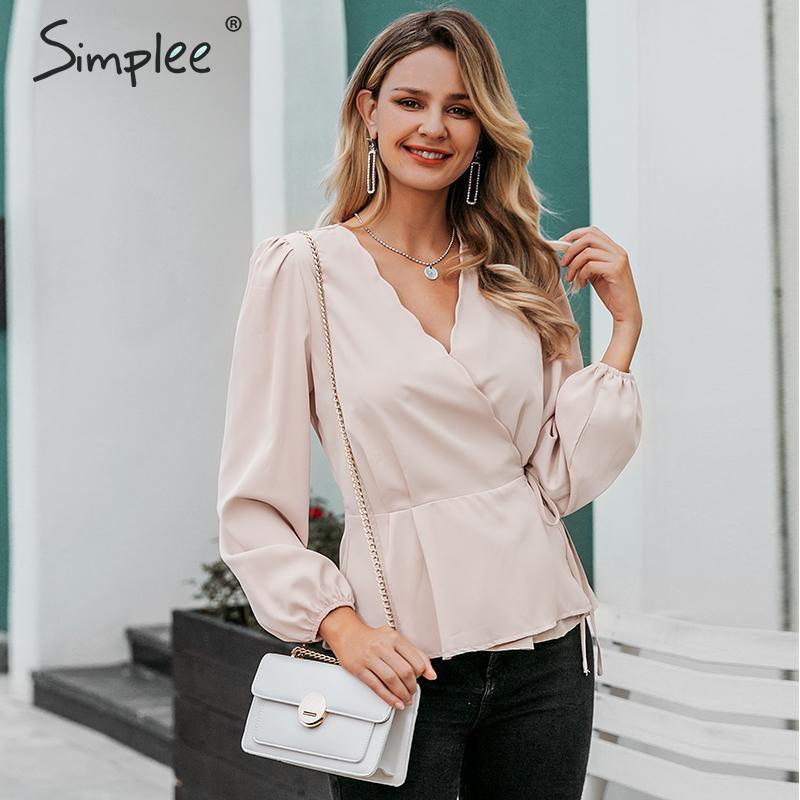 Simplee Casual Lace Up Wrap Blouse Women V Neck Lantern Sleeve Ruffled Female Tops Shirts High Waist Office Ladies Blouses 2019