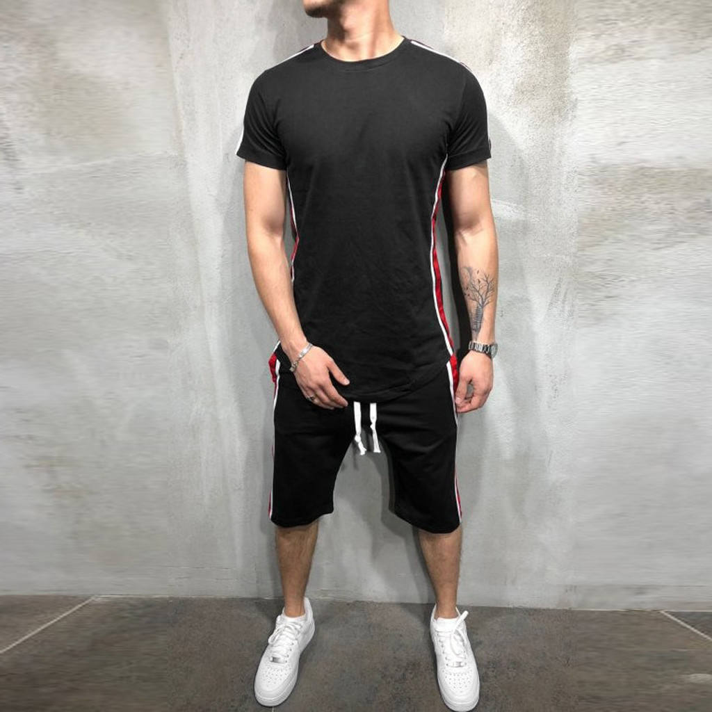 Mens Summer T Shirts Pants 2 Pieces Set Mens Summer Leisure Stripe Color Collision Short Sleeve Shorts Thin Sets 1.17