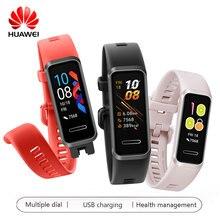 Huawei Fascia 4 USB di Carica Intelligente Wristband Della Fascia di Frequenza Cardiaca Monitor di Salute di Passometer Mutial Quadrante Dispositivi Indossabili Versione Globale