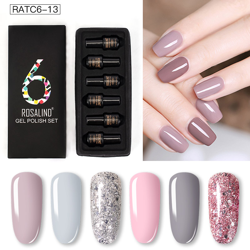 ROSALIND Gel Nail Polish Set Solid Color Nail Kit For Manicure Vernis Semi Permanent 7ML Gel Kit Top And Base All For Manicure 23