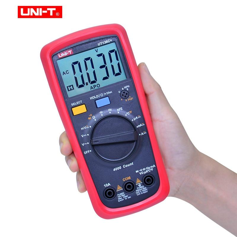 Tester Transistor AC Voltmeter Multimeter  DC UT136B Tester UT136C UNI  Capacitance Diode Multimeter HFE Ammeter Digital T Ohm