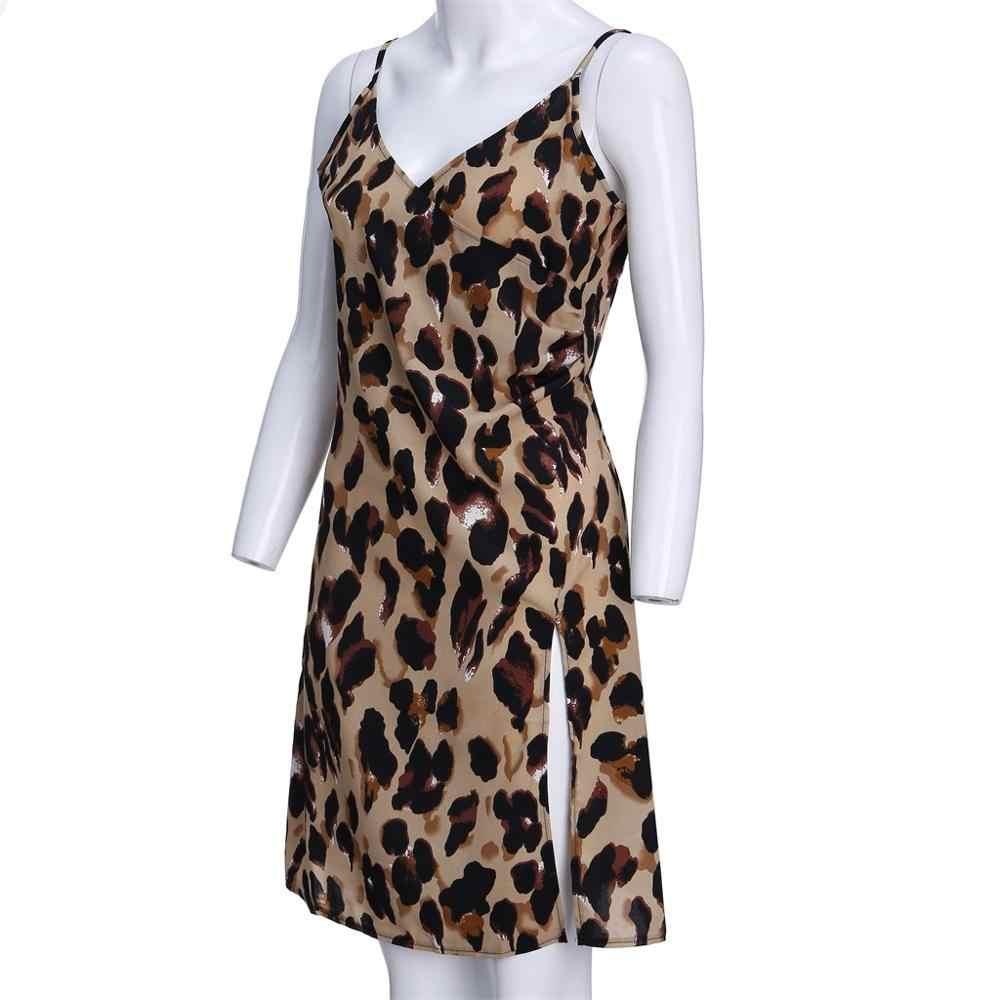 סקסי נשים של נמר מיני שמלת קלע טמפרמנט שרוולים מקרית הדפס מנומר שמלות המפלגה ללא משענת מקרית Loose שמלת A3