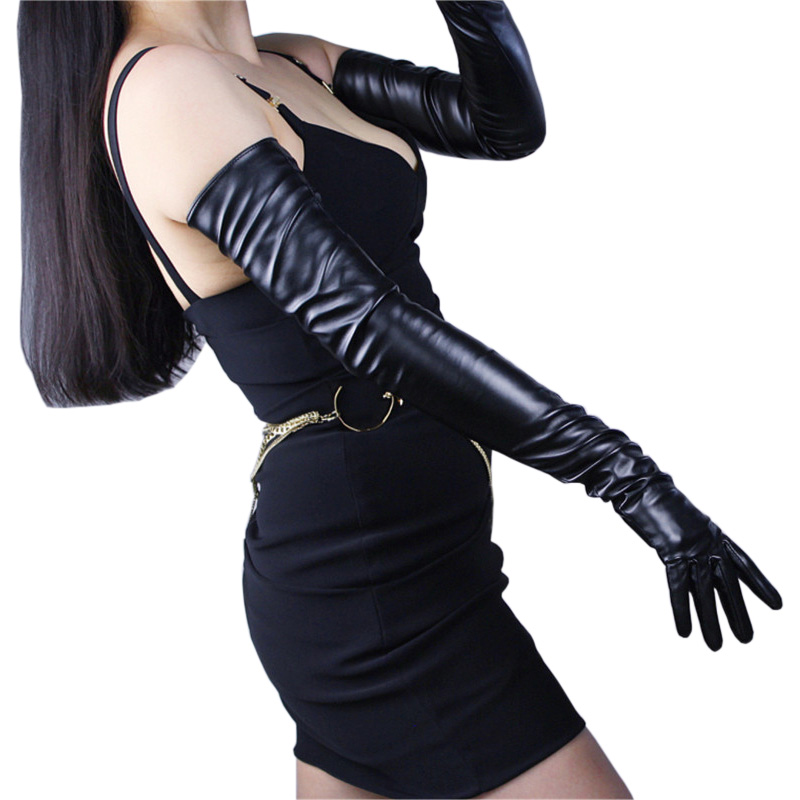 Extra Long Leather Gloves 70cm Faux Leather Sheepskin Matte Black PU Gloves Female Touchscreen Function WPU231