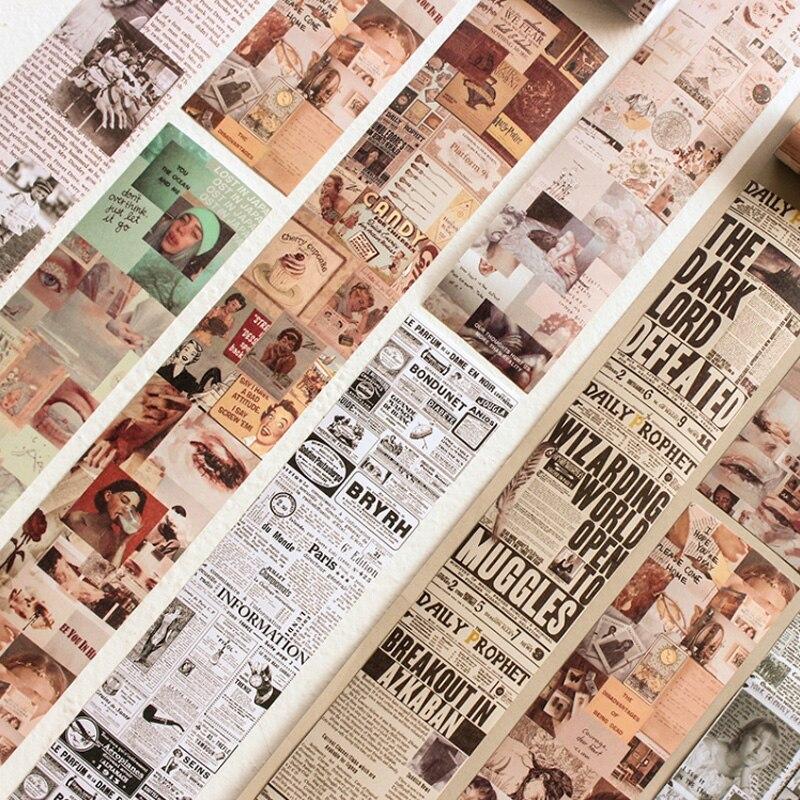6.4*46cm Vintage Newspaper Washi Tape DIY Decoration Scrapbooking Planner Masking Tape Adhesive Tape Kawaii Stationery