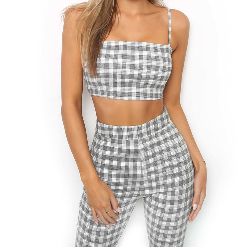 Goocheer 2pcs Plaid Sets Women Tracksuit Plaid Sexy CasualSleeveless Sweatsuit Crop Tank Top Flare Pants Leggings in Women 39 s Sets from Women 39 s Clothing