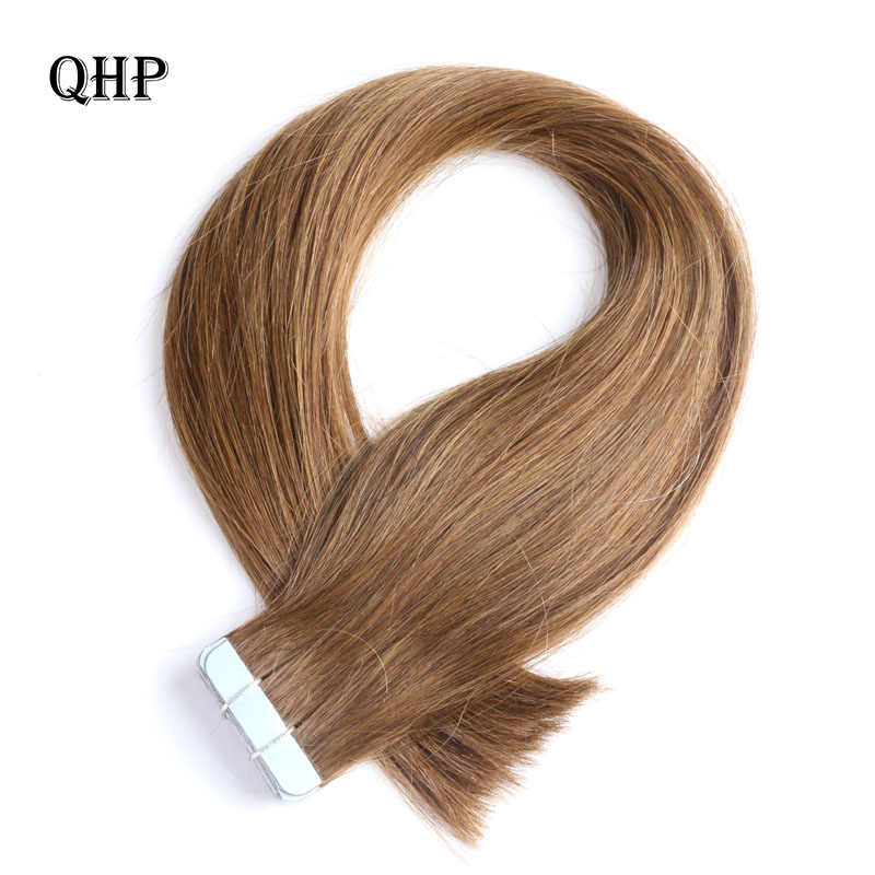 QHP Hair  Remy Human Hair Extensions 2g/stand 20pcs/pack Tape In Hair Skin Weft