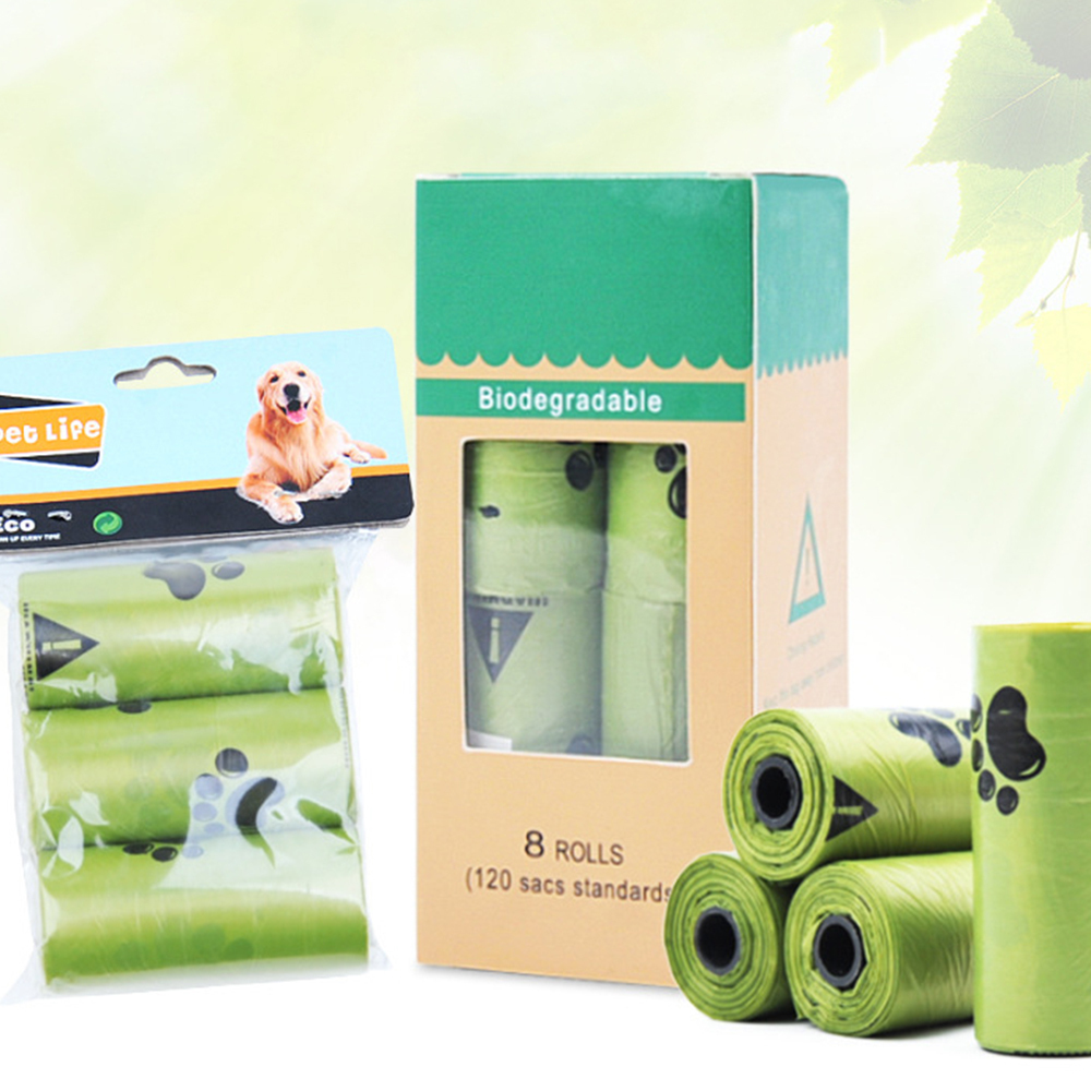 8 Rolls/Box Dog Poop Bag Degradation Disposable Garbage Bag Carton Pick Up Toilet Bags Cat Waste Bags Outdoor Clean Garbage Bag