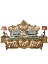 High end madeira maciça e couro cama conjunto de móveis de quarto de luxo