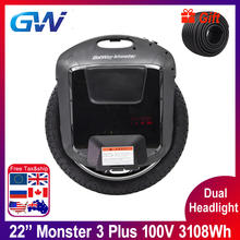 Gotway Monster 3 Plus 22 pouces TiTan 3th monstre monocycle électrique 100V 3108WH plein noir double phare 21700 batterie