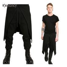 Hemiks Men Casual Pants Orgshine Medieval Costume For Men Western Style Spliced Loose Pants Solid Black Color Irregular Pants