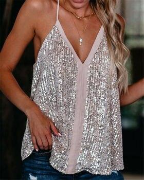 Women Ladies Sparkly Sequins V Neck Cami Top Vest Casual Tank Clubwear Plus Size цена 2017