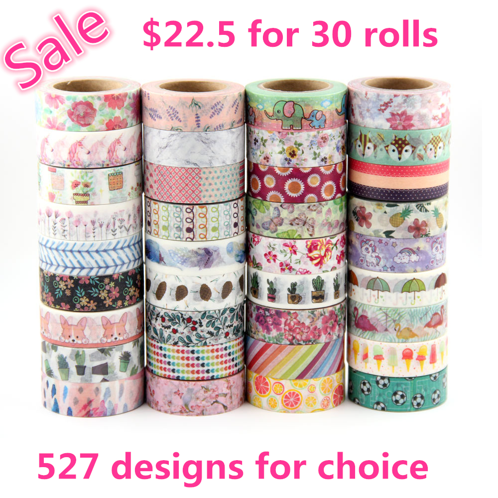 527 designs 30pcs/lot hot sale floral,cartoon, black ,lover cat Washi Tape DIY masking  Adhesive washi Tape lot 10m,5m