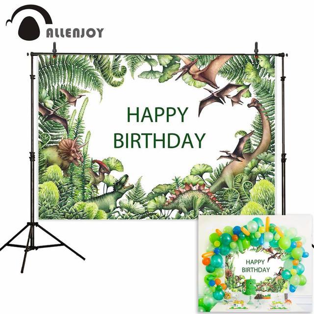 Allenjoy Achtergronden Voor Fotografie Studio Aquarel Dinosaurus Groen Prehistorische Plant Hand Painted Achtergrond Jurassic Photocall