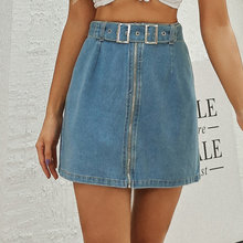 Однотонная Облегающая джинсовая мини юбка с Боковым Разрезом