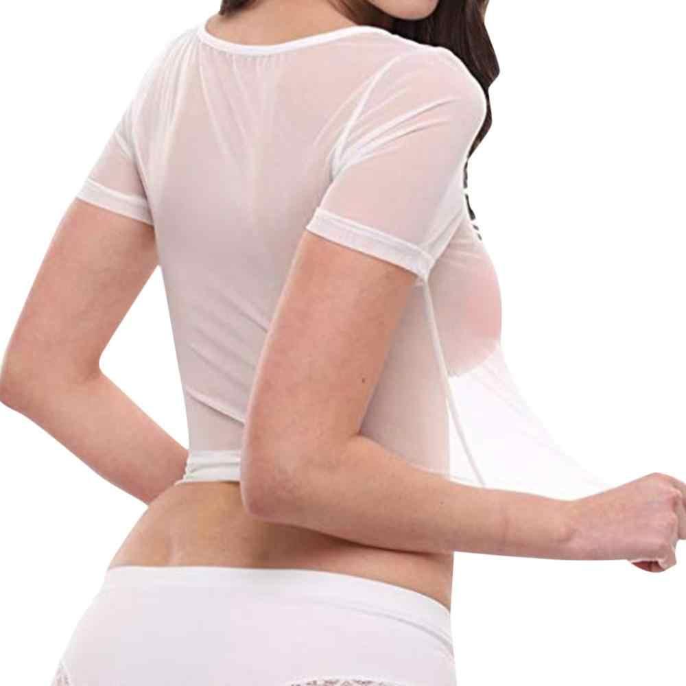 Donne Sexy Manica Corta Nero Sheer Mesh Top T Camicette Streetwear Magliette Sottile See-through Trasparente Top femmes Clubwear