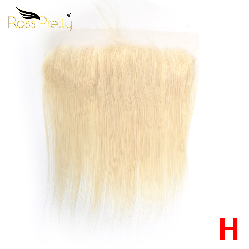 Ross Pretty  High Ratio Remy Peruvian Straight Hair Blonde Color Lace Front Human Hair 613 13x4 Frontal Middle Or Free Part