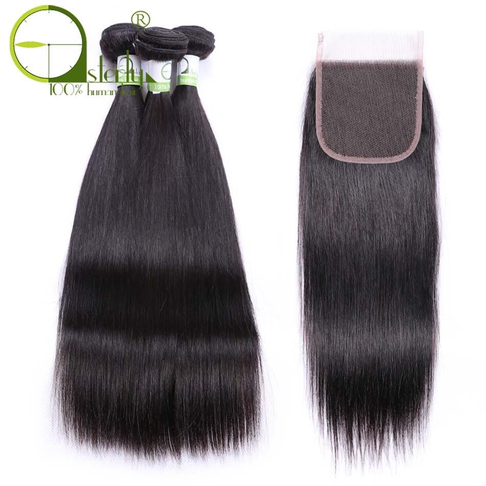 Feixes de cabelo humano sterly com 5*5 pacotes de tecer cabelo brasileiro fechamento e 5*5 pacotes de cabelo em linha reta fechamento do laço com fechamento