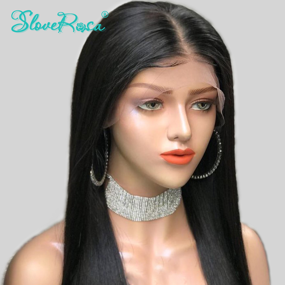 Image 4 - 130% Density Straight 13X4 Lace Front Human Hair Wigs For Black Women Brazilian Remy Hair Pre Plucked Bleached Knot Slove Rosa-in Human Hair Lace Wigs from Hair Extensions & Wigs