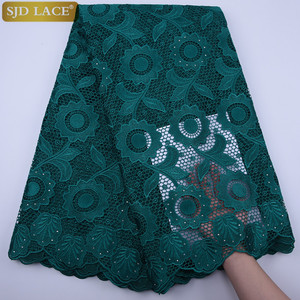 SJD LACE Green African Cord Lace Fabric Top Quality With Stones Eyelet Water Soluble Nigerian Guipure Cord Lace For WeddingA1796