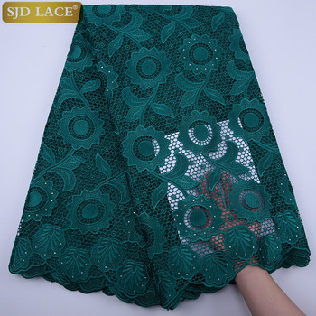 SJD LACE Green African Cord Lace Fabric Top Quality With Stones Eyelet Water Soluble Nigerian Guipure Cord Lace For WeddingA1796 guipure lace panel bardot top