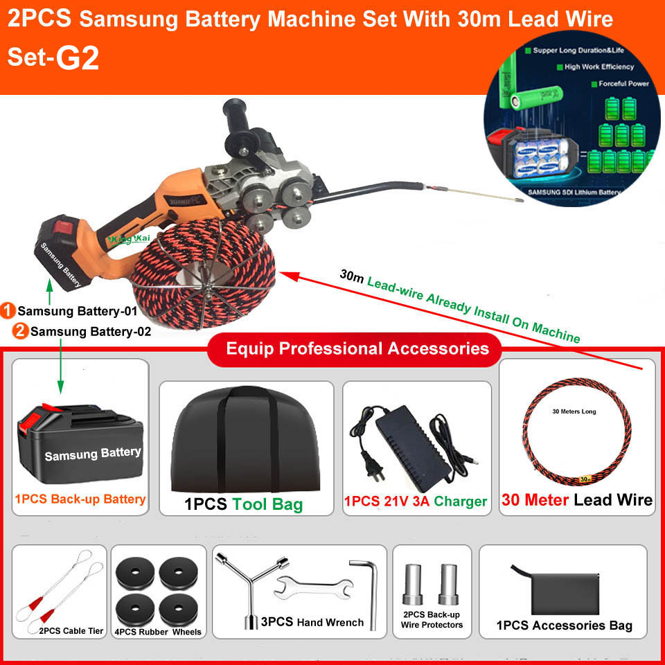 H3e4c23c7acb840c0ba2406584c6db2fa8 - Two Brushless Motor Samsung Li Battery Electric Wire Cable Leading Machine Artifact Wire For Electrician Cable Install