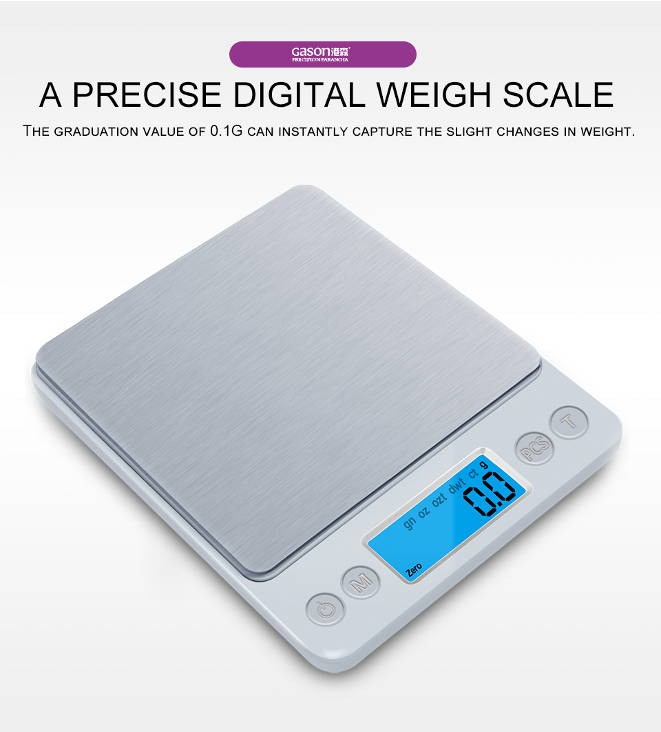 GASON Z1s Digital Kitchen Scale Mini Pocket Stainless Steel Precision Jewelry Electronic Balance Weight Gold Grams(3000gx0.1g) 2