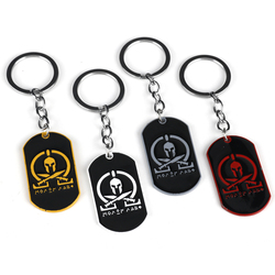 Dog Tag Pendant Keychain Sparta Military Molon Labe Spartan Keyring Hip Hop Key Holder For Men