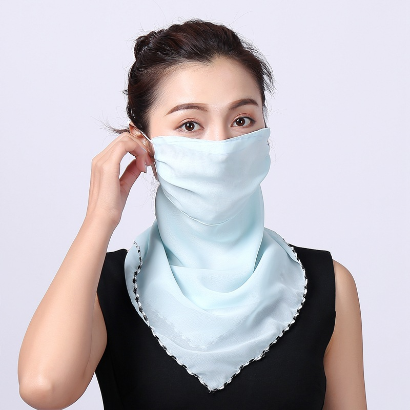 Summer Sun Protection Facemask Windproof  Veil For Women Chiffon Scarf Outdoor Driving Cycling Mask Neck Sunscreen Silk Scarf
