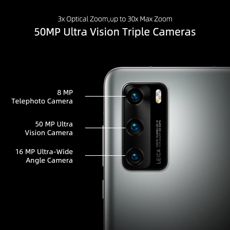 Globale version Huawei P40 5G Smartphone Kirin 990 8GB 128GB 50MP Kamera threefold 6,1 ''Android 10 22,5 W Aufzurüsten NFC