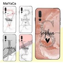 MaiYaCa Glitter Rose Gold Marble Custom Name Initials Case For