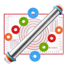 4 Adjustable Thickness Rings Pastry Mat for Baking Cookie Fondant Dough Pastry Pizza Rolling Pin Baking Pastry Mat Set