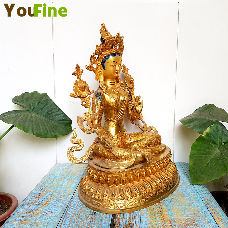 Bronze Buddha statues Buddhist offerings high grade stickers golden Buddha statues green mother statues in Figurines Miniatures from Home Garden