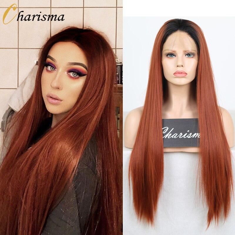 Carisma largo recto Ombre pelucas medio sintético peluca con malla frontal de alta temperatura de pelucas de pelo para las mujeres pelucas de Cosplay