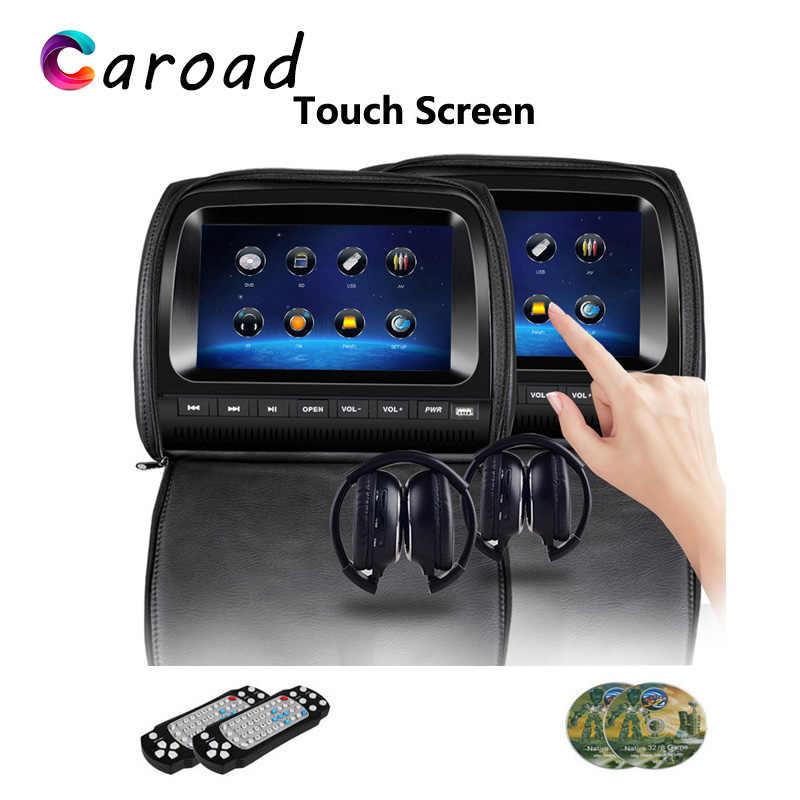 2 個 9 インチ FHD タッチスクリーン車のヘッドレストモニター DVD ビデオプレーヤージッパーカバー TFT 液晶 IR/FM トランスミッタ/USB/SD/スピーカー/ゲーム