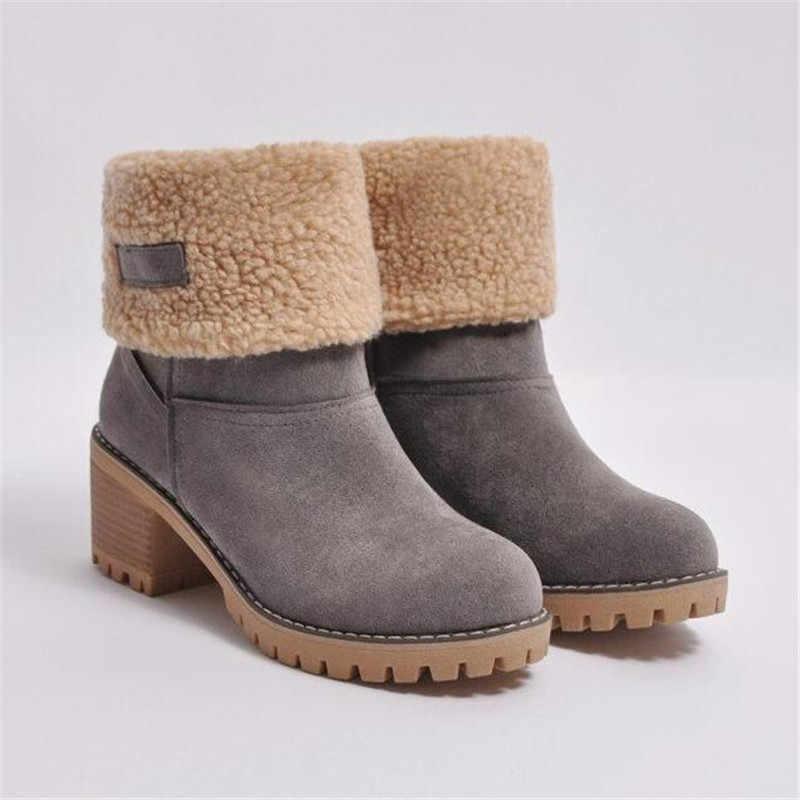 LZJ 2019 botas para mujer nuevas botas de invierno al aire libre cálidas y cómodas botas de piel para mujer botas de nieve zapatos de tacón grueso botas de tobillo de moda