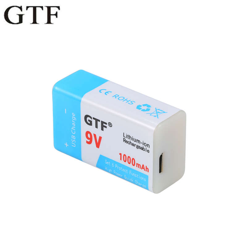 GTF USB Battery 9V 1000mAh/500mAh Li-ion Rechargeable Battery USB Lithium Battery For Toy Remote Control Drop Shipping