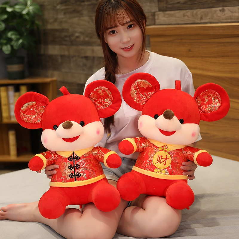 2020 New Year Plush Rat Year Mascot Toy Plush Red FU Mouse In Tang Suit Soft Doll Chinese New Year Party Home Decoration Gift