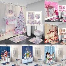 10 типов водонепроницаемых занавесок для ванной, Рождественская занавеска, снежный принт, занавеска для ванной, покрытие для туалета, коврик, набор, Нескользящие коврики