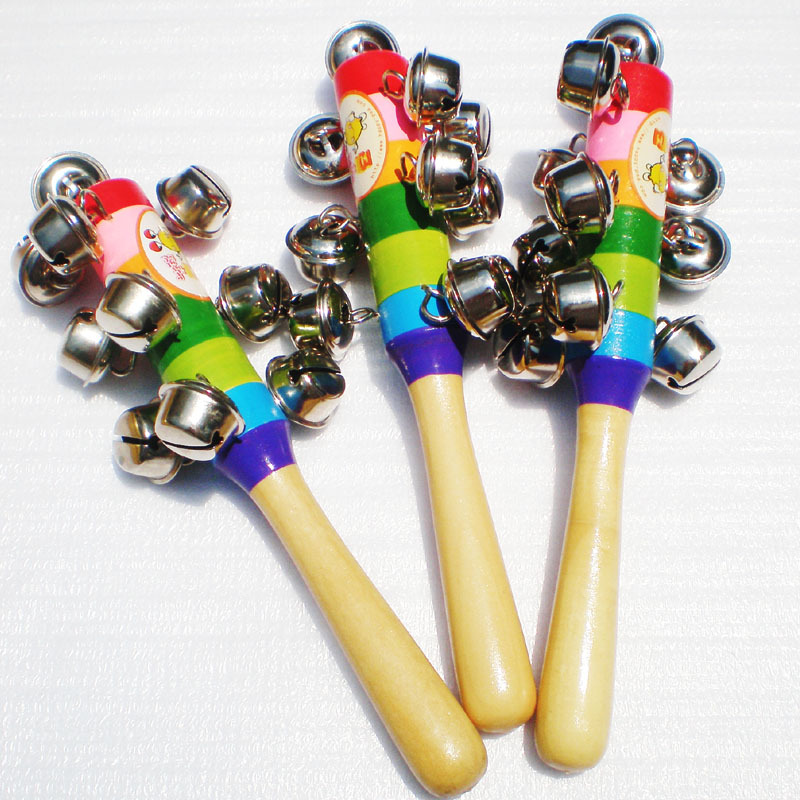 Orff Instruments: Rainbow Hand Rattle Orff Teaching Aids Handle Rattle Wooden Rattle Chuan Ling