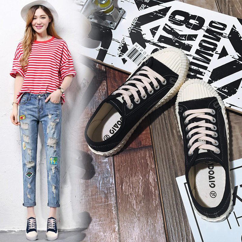 2019 Summer New Products Harajuku Canvas Shoes Women's Students Korean-style Biscuit Flat White Shoes Women's Shoes Retro Shoes