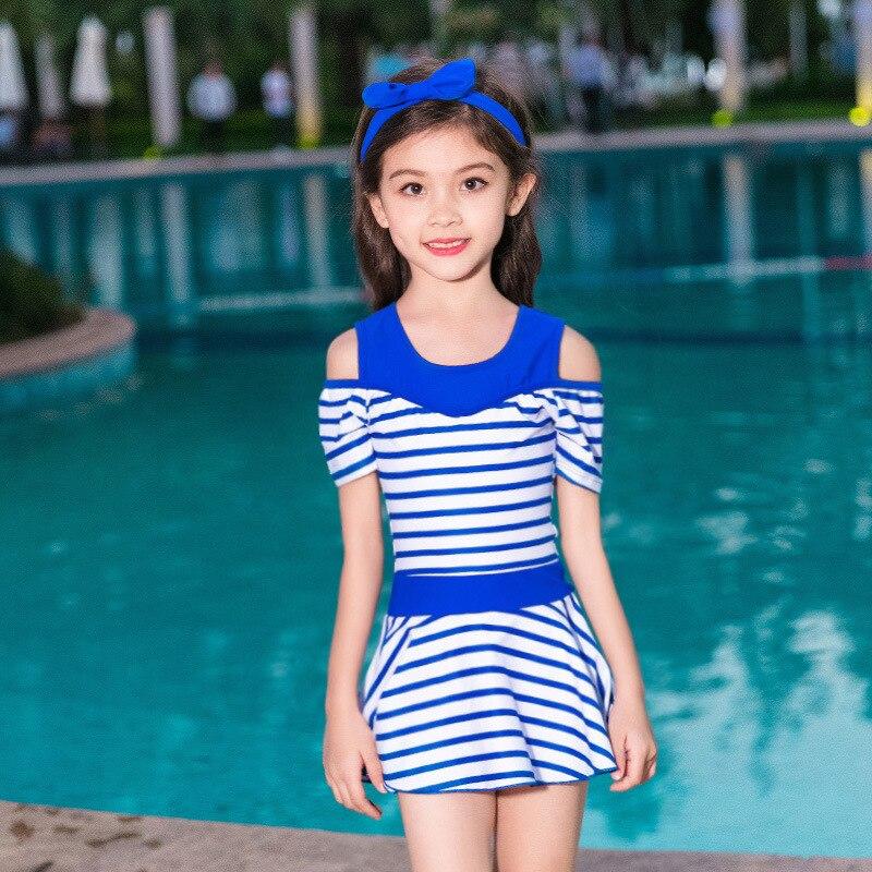 One-piece Swimsuit For Children Women's Cute Girls Baby Swimwear Students Big Boy Boxer Princess Dress-Tour Bathing Suit