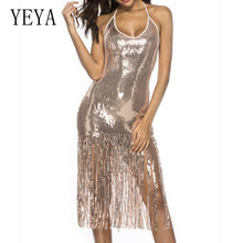 YEYA Reflective Sequined Tassel Sexy Summer Dress New Style Open Back Sleeveless Halter Bodycon Women Glitter Club Dresses